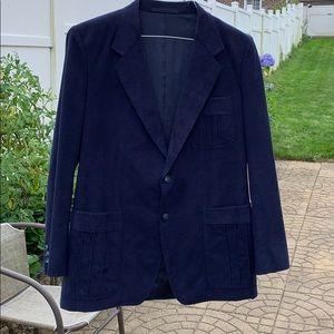 Men's Handmade Gentry Tailored blue Suede Jacket